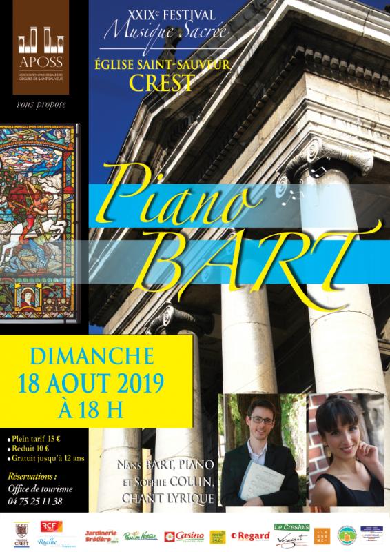 Concert au Festival de Crest le 18 août 2019, Nans Bart, piano et Sophie Collin, chant