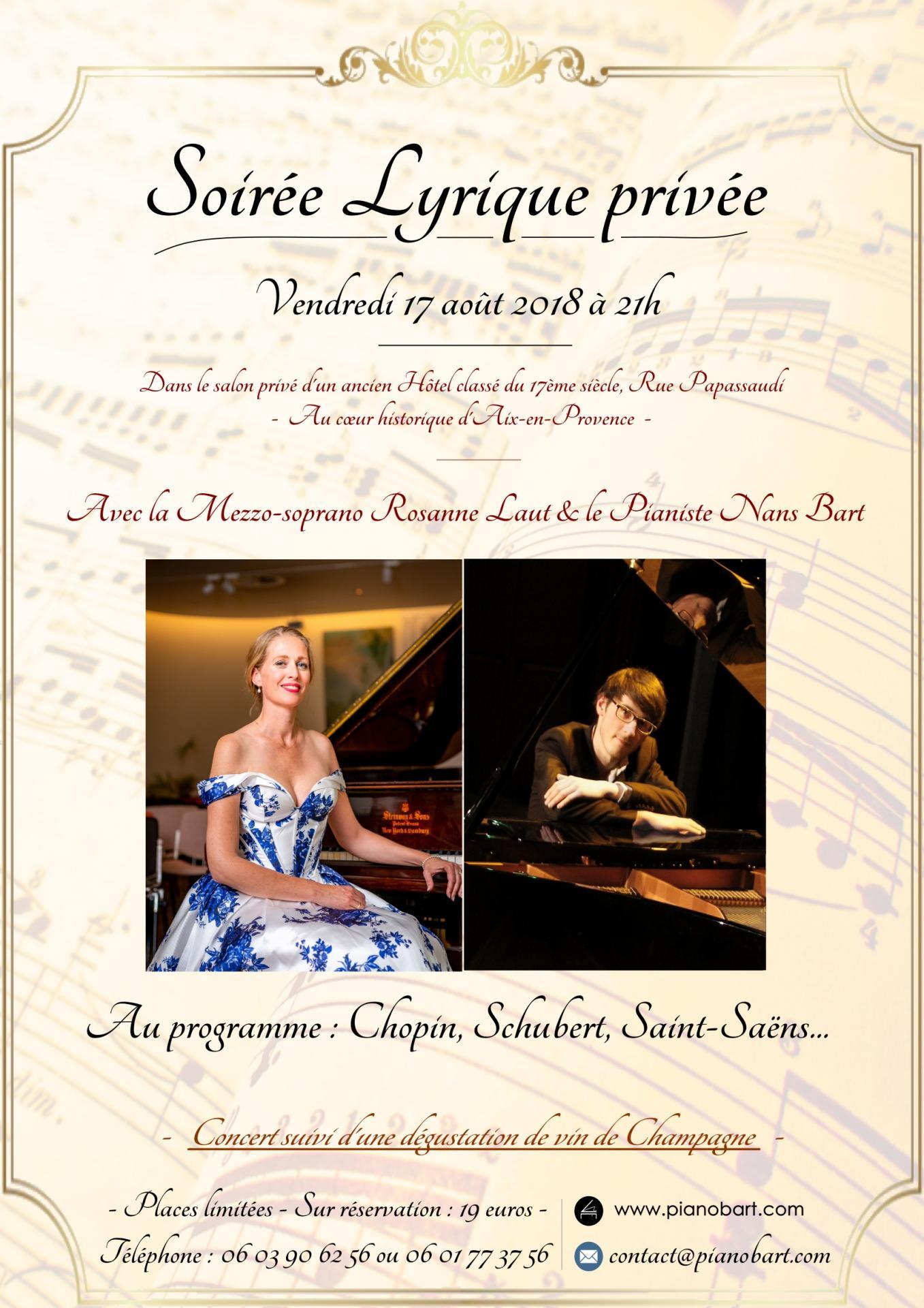 Soirée Lyrique privée à Aix-en-Provence le 17 août 2018 à 21h