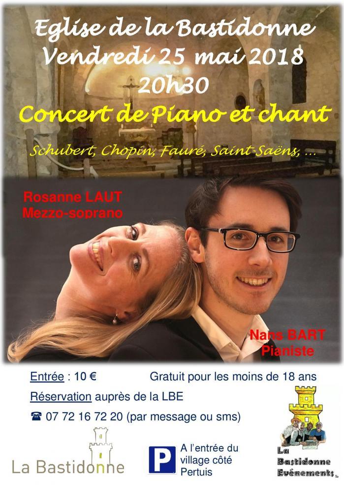 Concert Piano et Chant le 25 mai 2018 à 20h30 à La Bastidonne