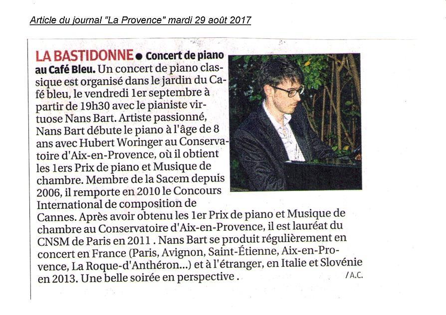 Concert à La Bastidonne au Café Bleu le 1er septembre 2017