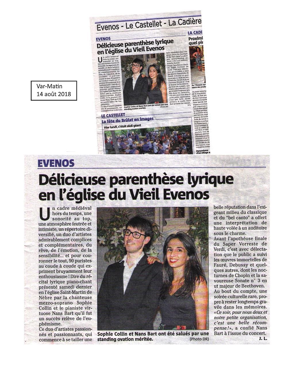 Article de journal dans Var-Matin pour Évenos le 14 aoôt 2018 : Concert Nans Bart, piano et Sophie Collin, soprano