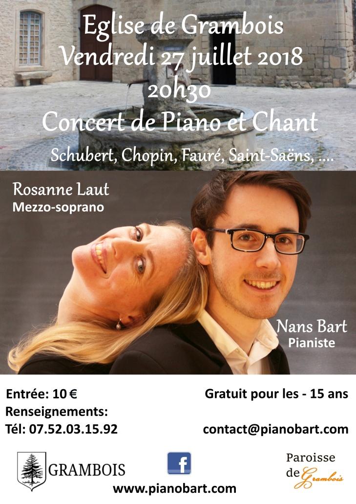 Concert a grambois le 27 juillet 2018 a 20h30