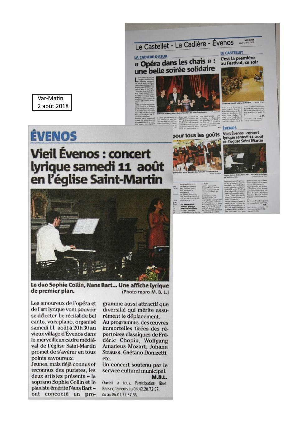 Concert de à Musique le 11 août Évenos, Nans bart piano et Sophie Collin soprano