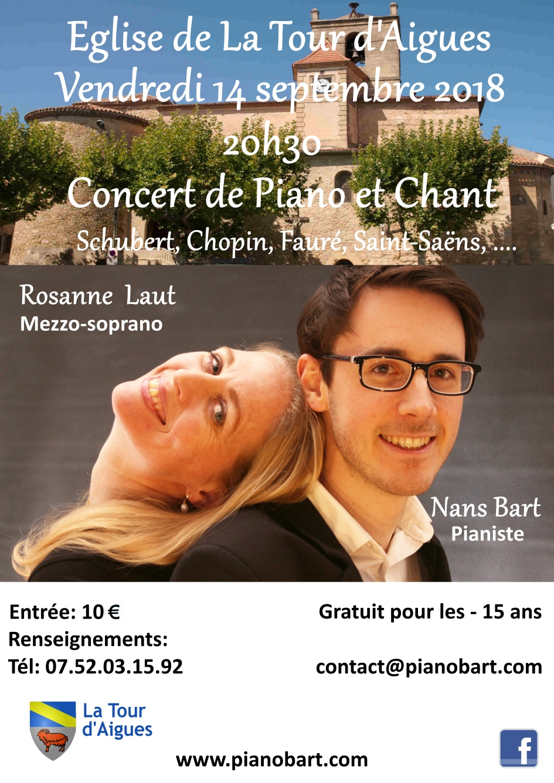 Concert à La Tour-d'Aigues le 14 septembre 2018